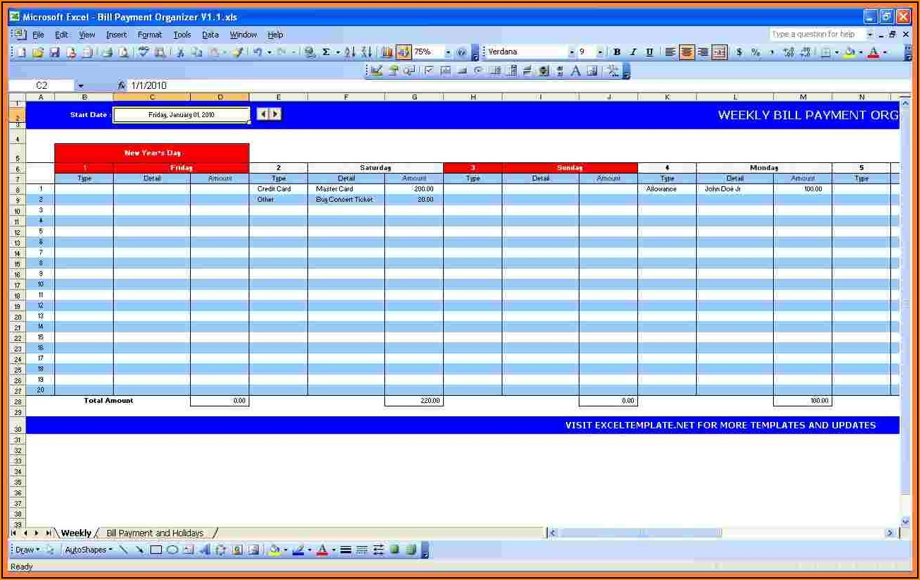 Bill Payment Template Excel