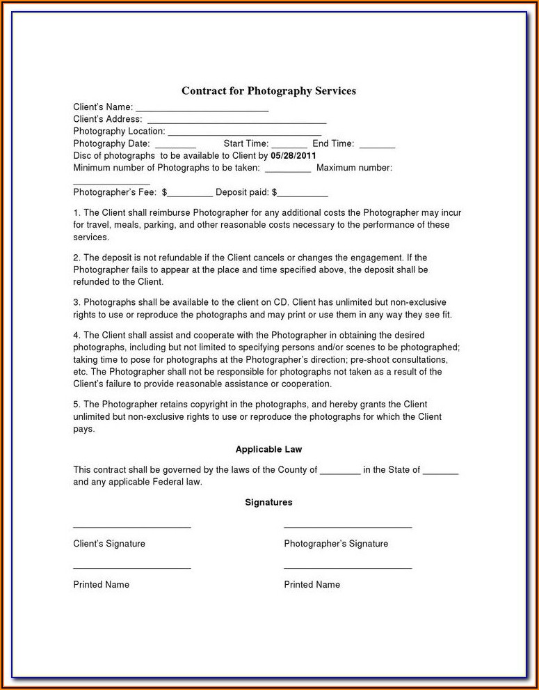 Birth Photography Contract Examples