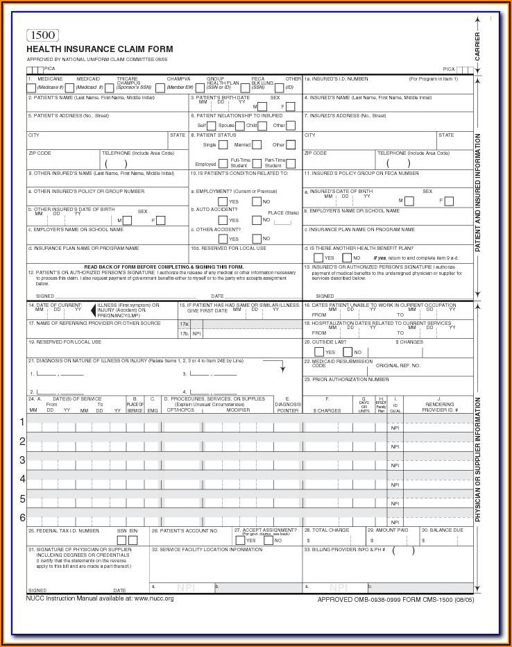 Blank Cms 1500 Claim Form