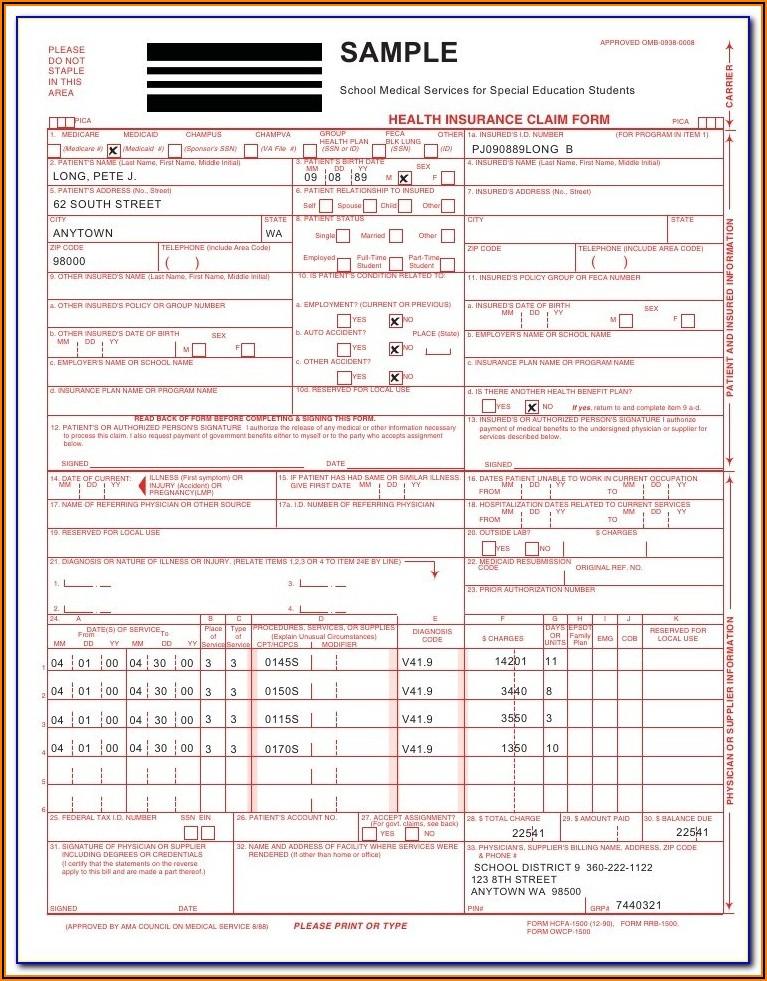 Blank Cms 1500 Form Pdf