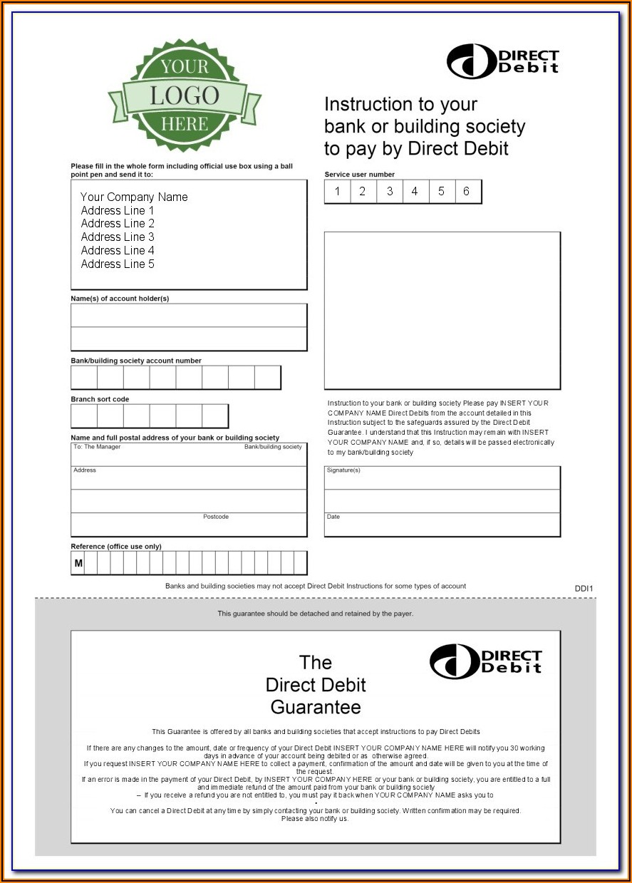 Blank Direct Debit Form Template