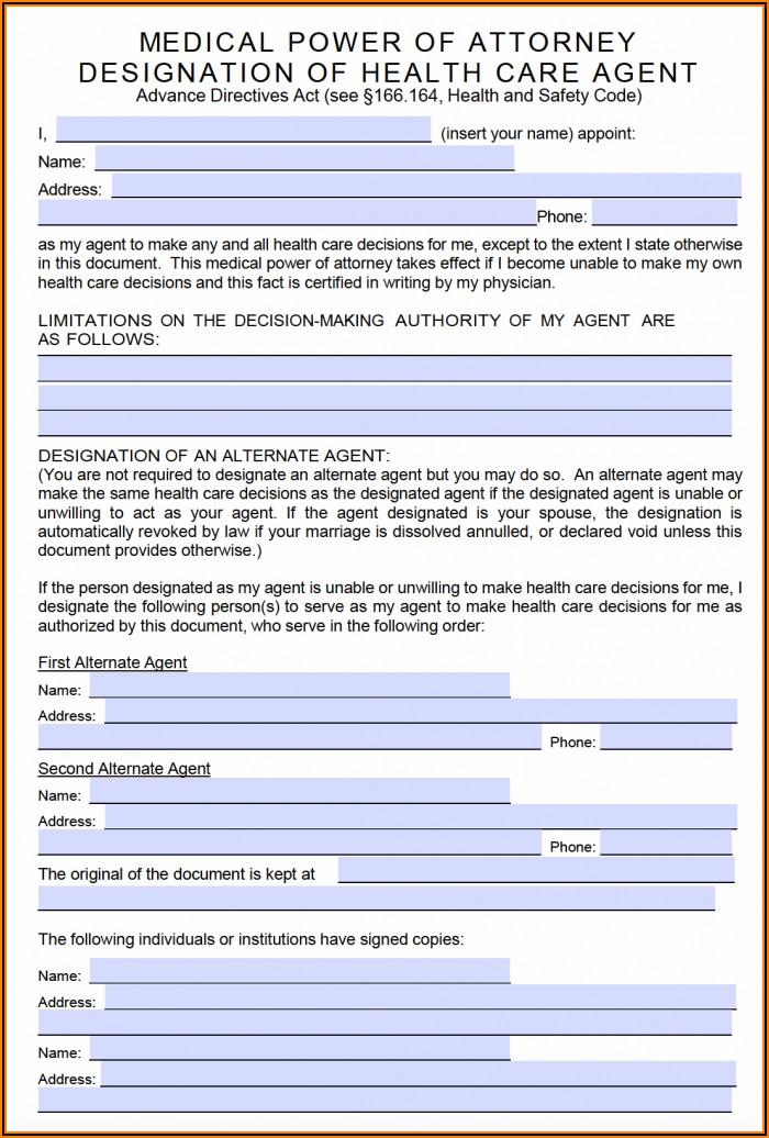 Blank Durable Power Of Attorney Form Nj
