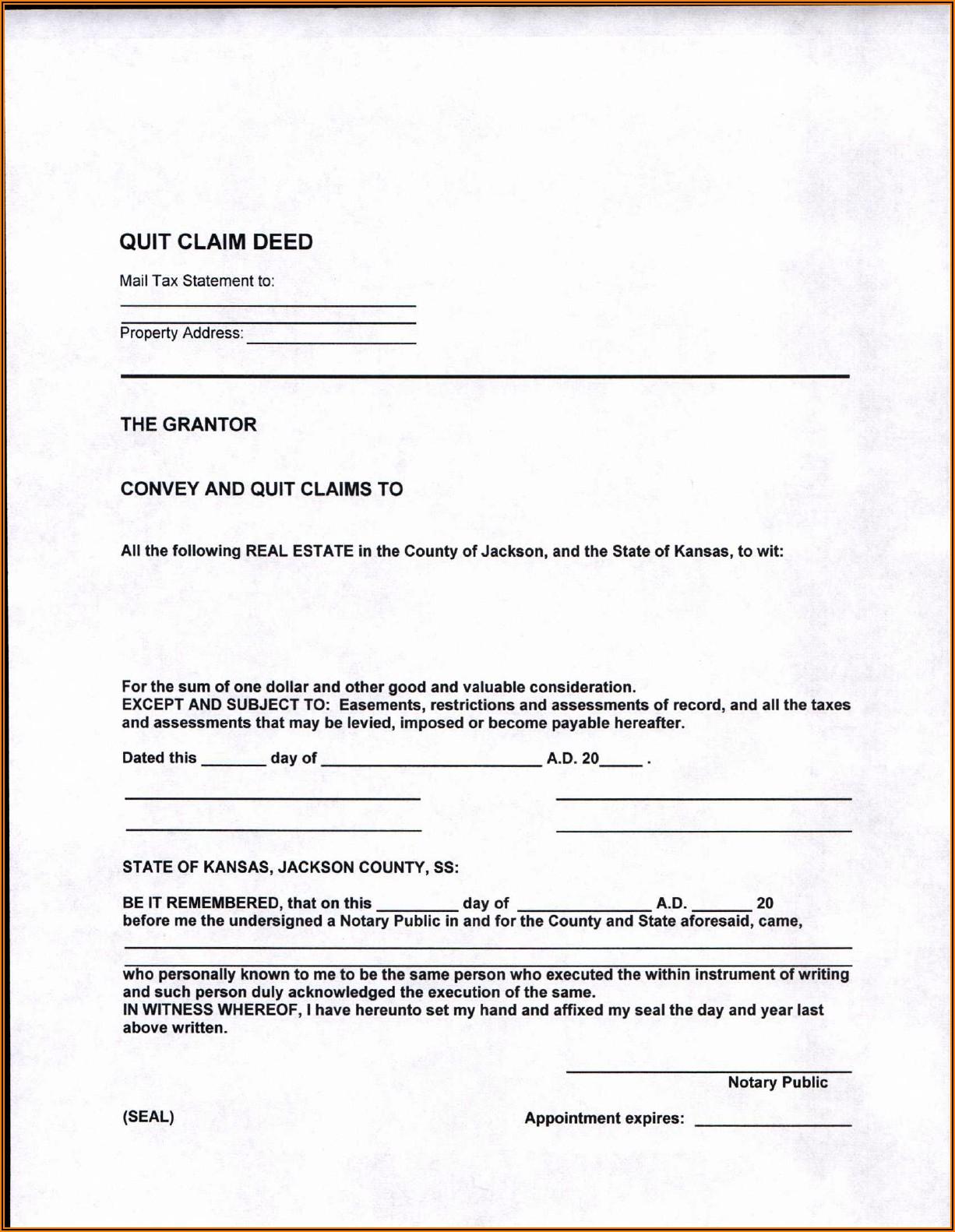 Blank Quit Claim Deed Form Kansas