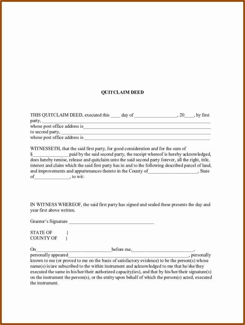 Blank Quit Claim Deed Form North Carolina