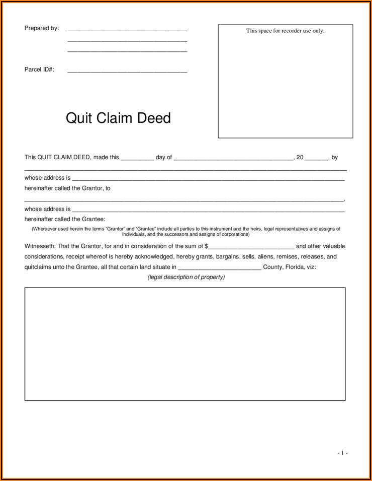 Blank Quit Claim Deed Forms