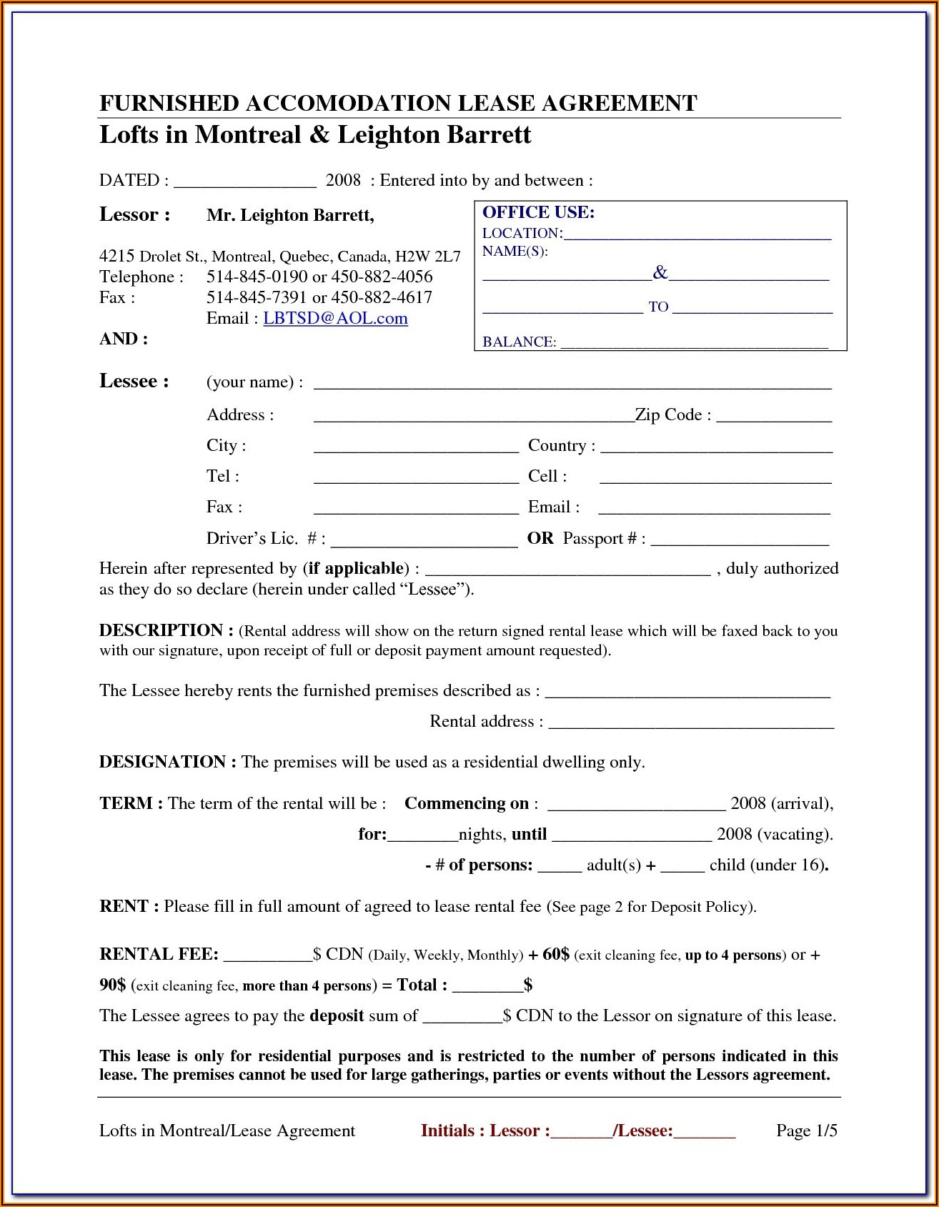 Blank Rental Agreement Forms
