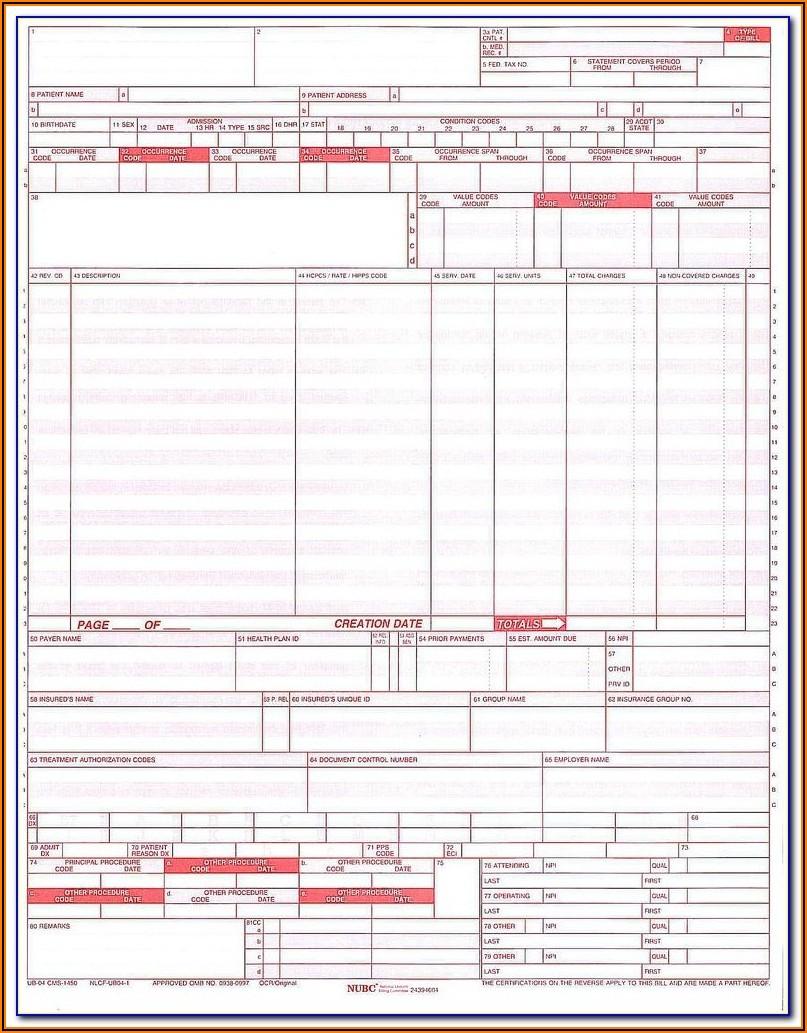 Blank Ub 04 Form Fillable