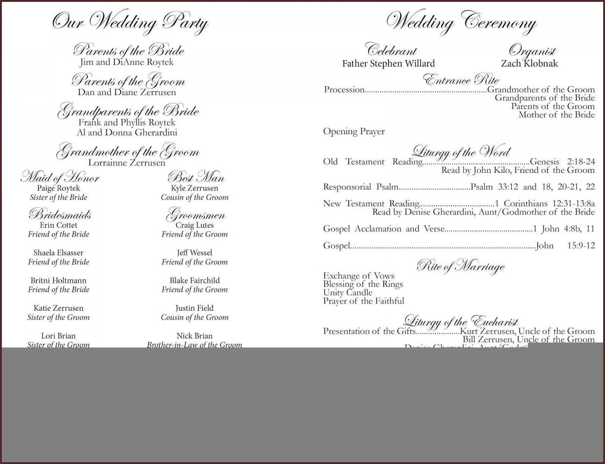 Booklet Style Wedding Program Template