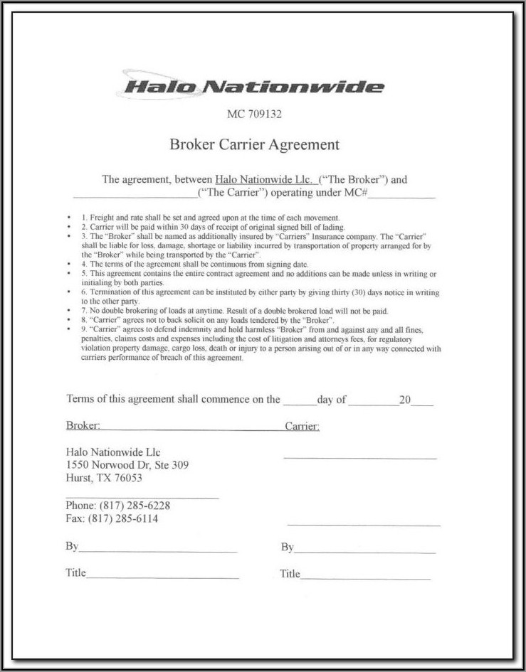 Brokerage Agreement Form