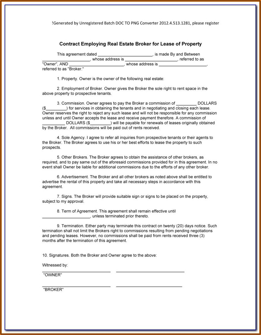 Brokerage Agreement Format India