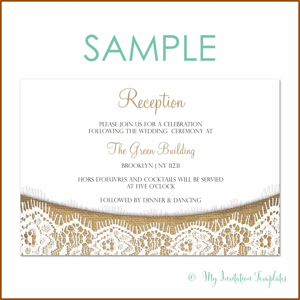 Burlap And Lace Wedding Invitation Template