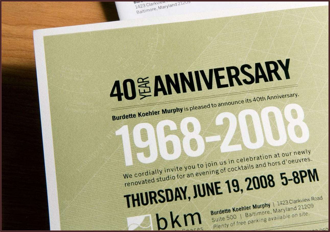 Business Anniversary Invitation Wording Samples
