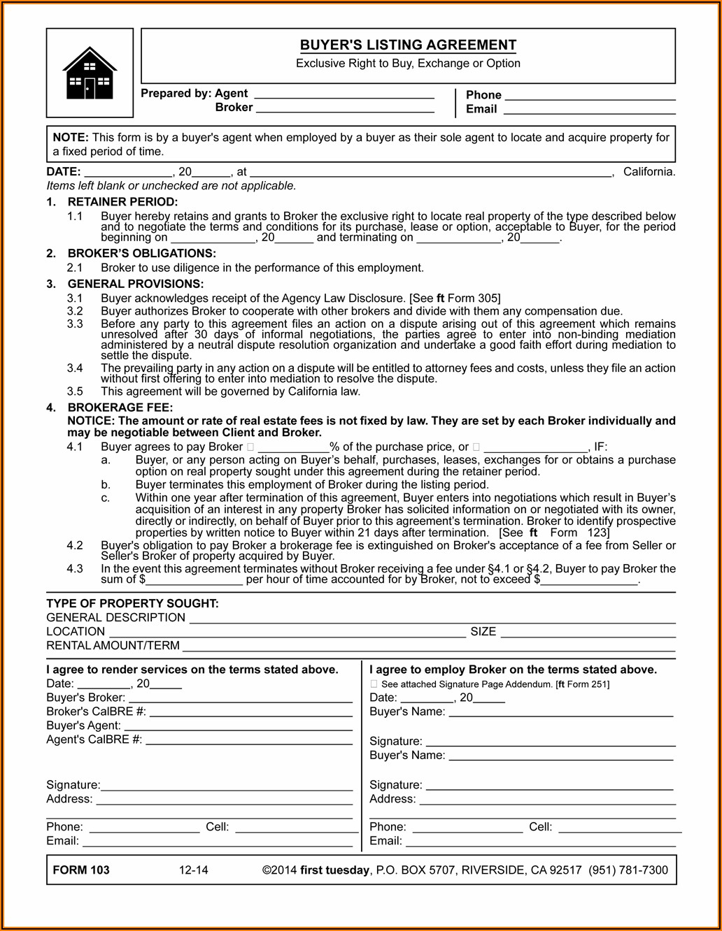 California Commercial Real Estate Listing Agreement Form