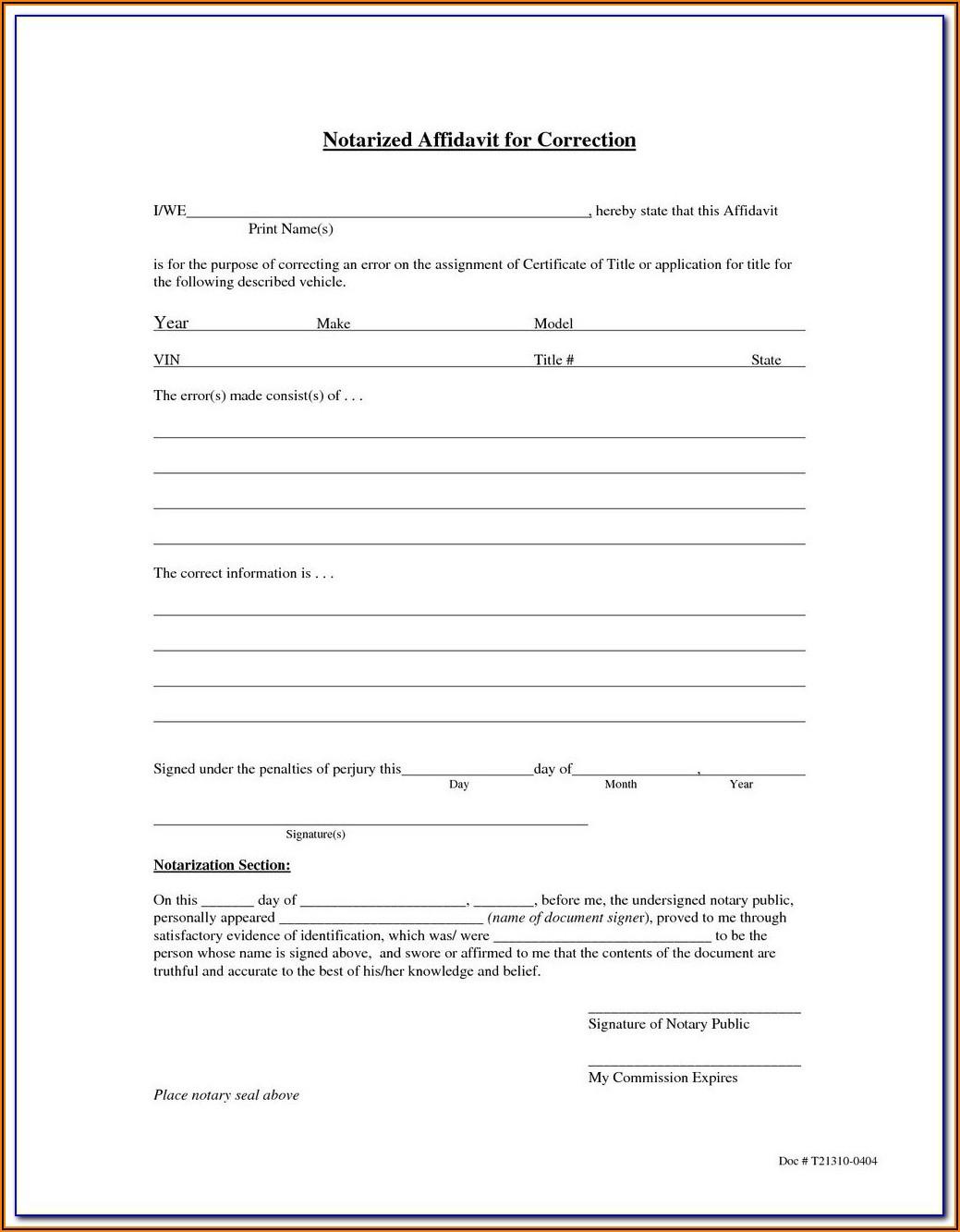 California Notary Public Affidavit Form