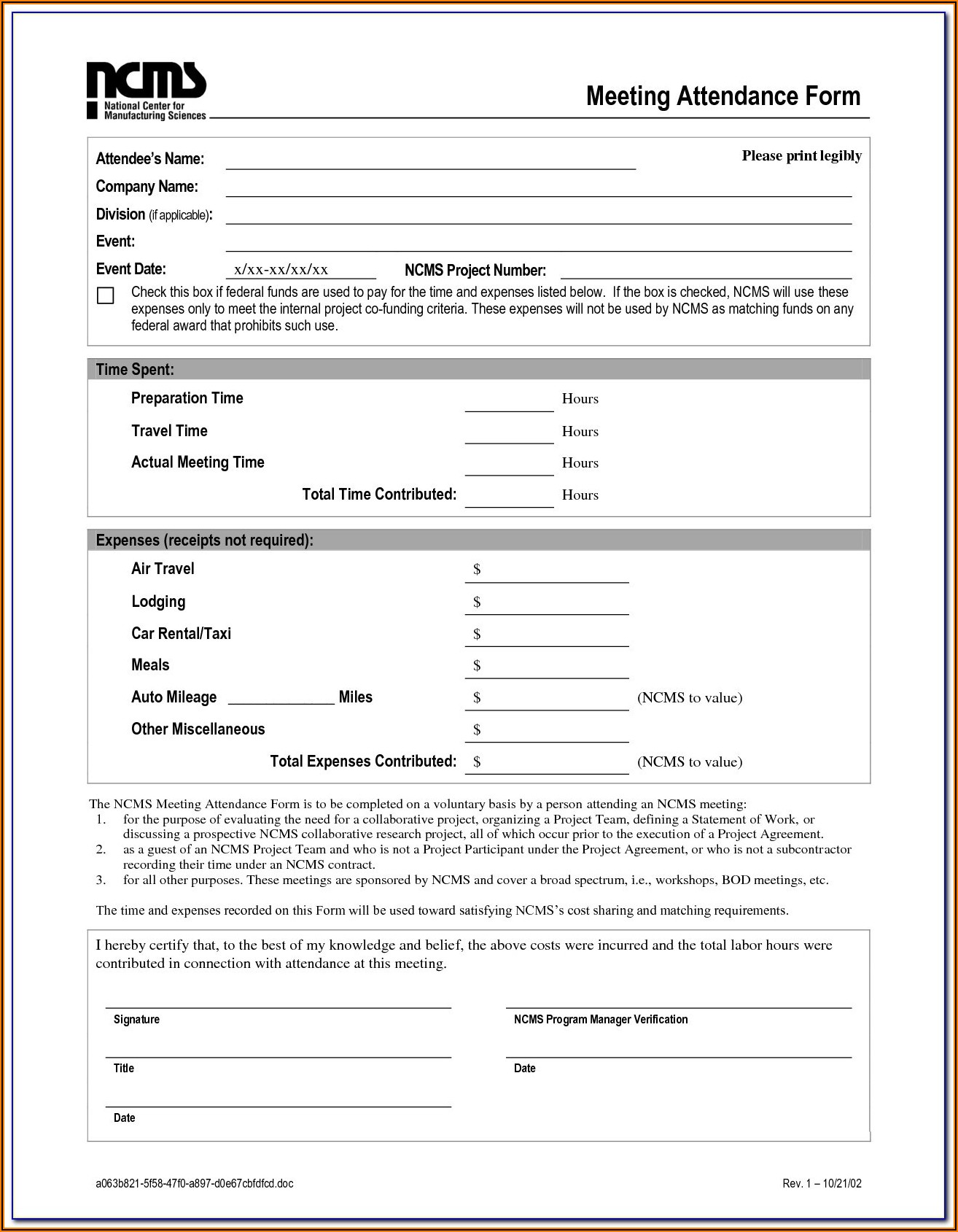 Car Rental Form Template