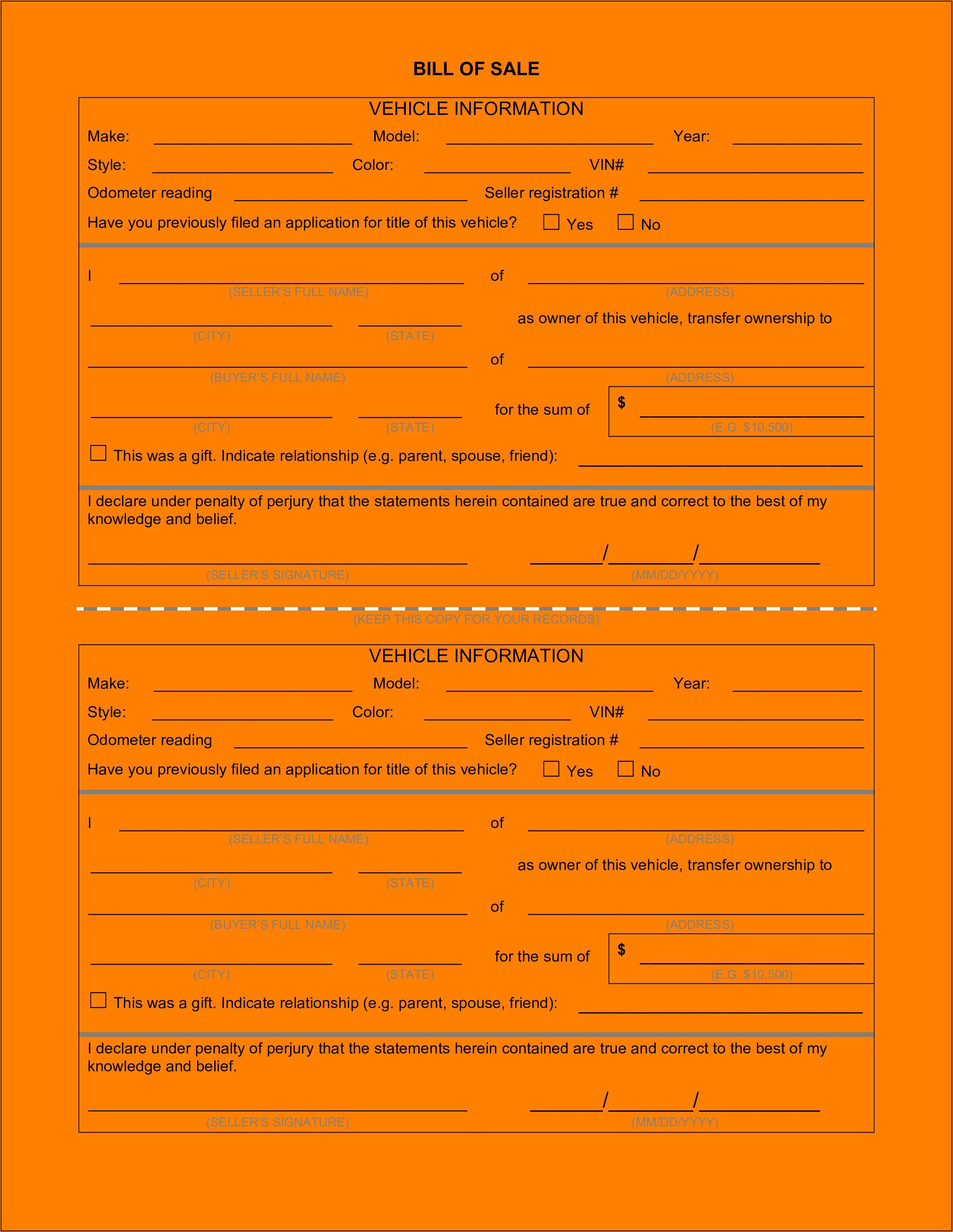 Car Sale Receipt Form Download