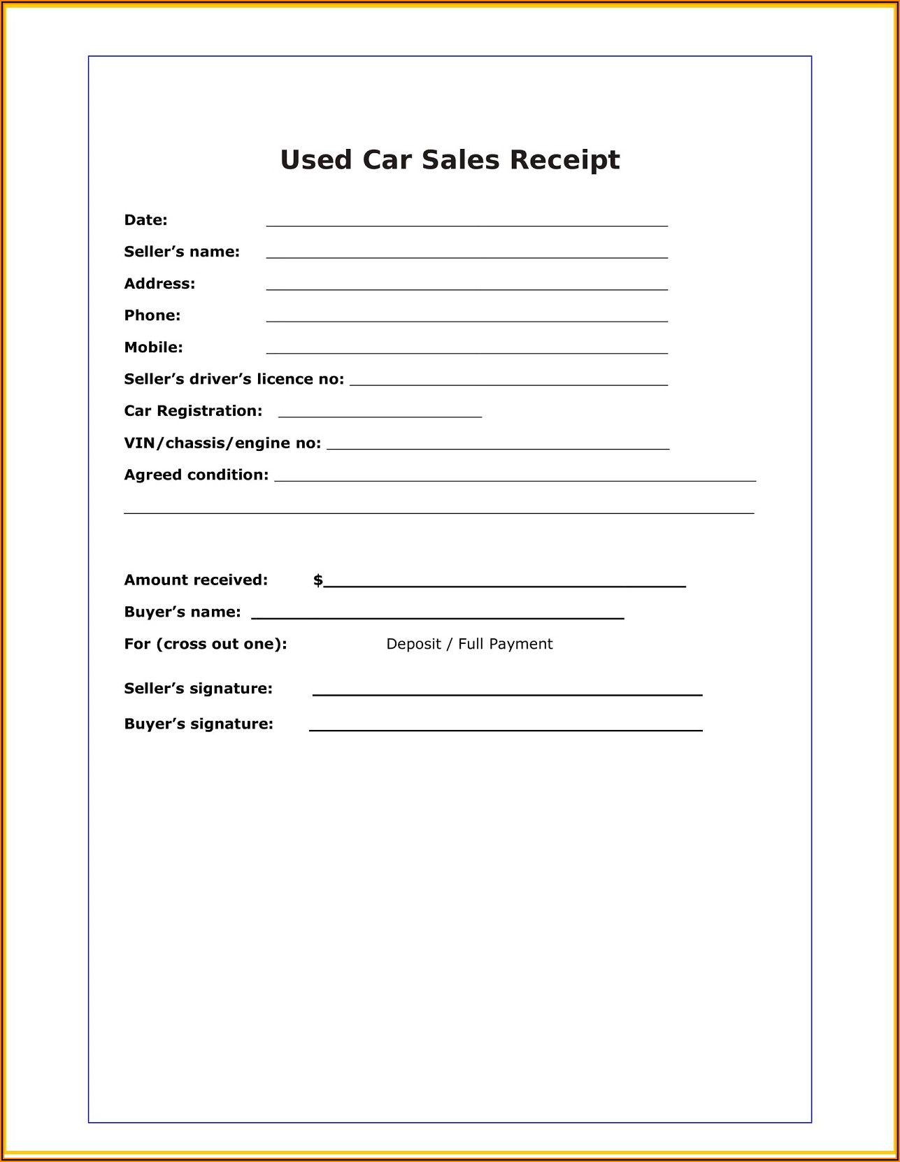 Car Sales Receipt Example