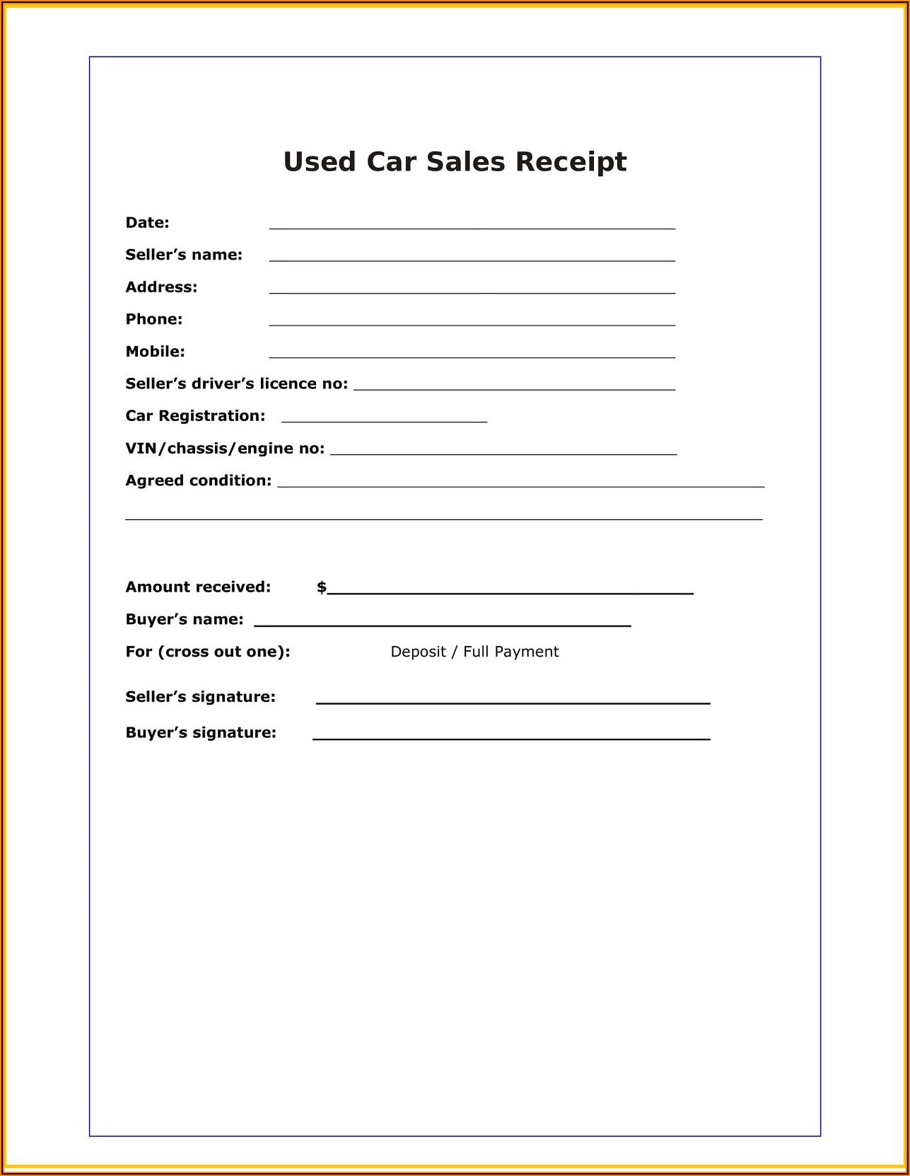Car Sales Receipt Example
