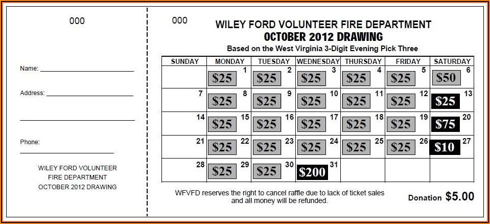 Cash Calendar Fundraiser Template