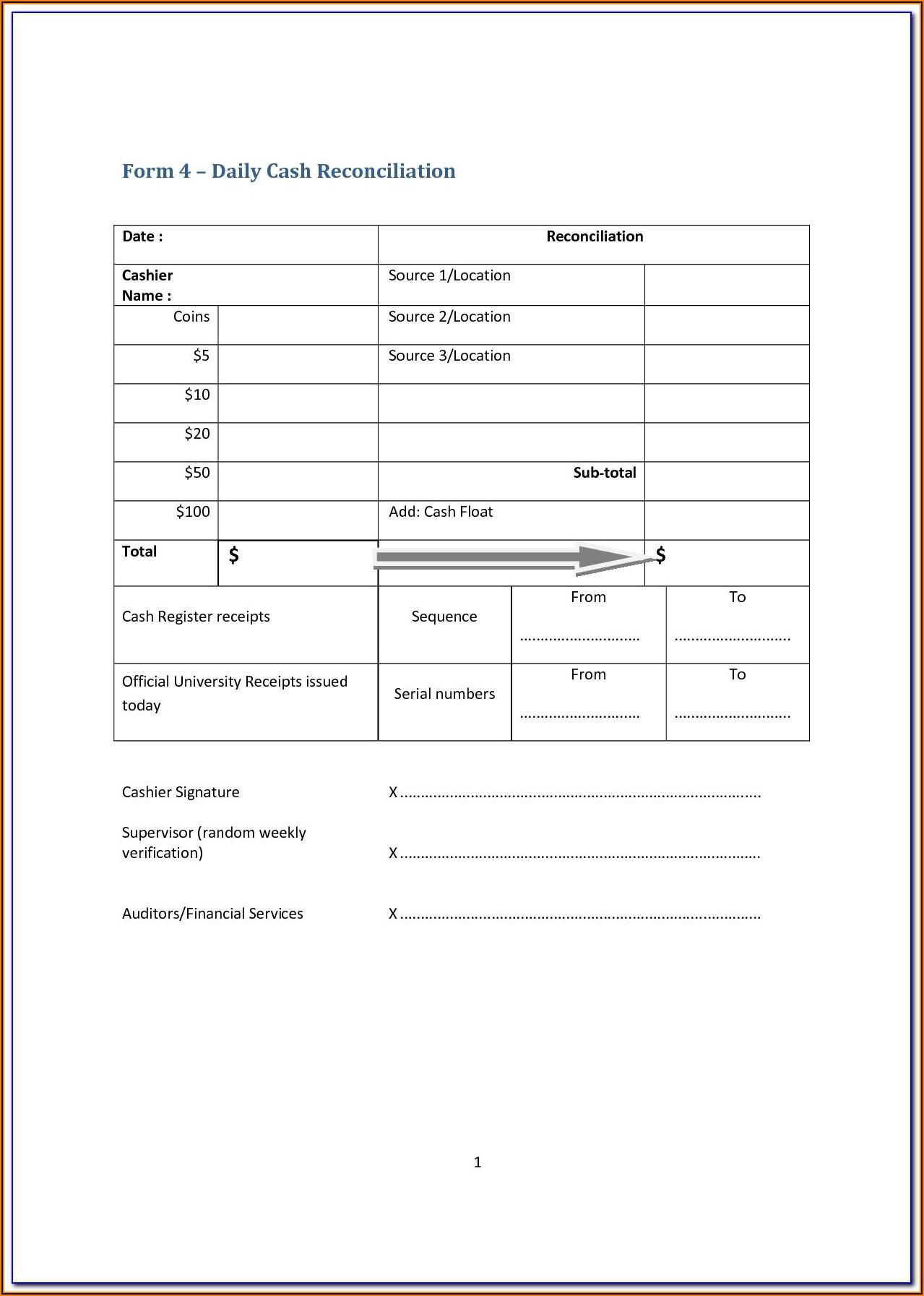 Cash Register Reconciliation Form