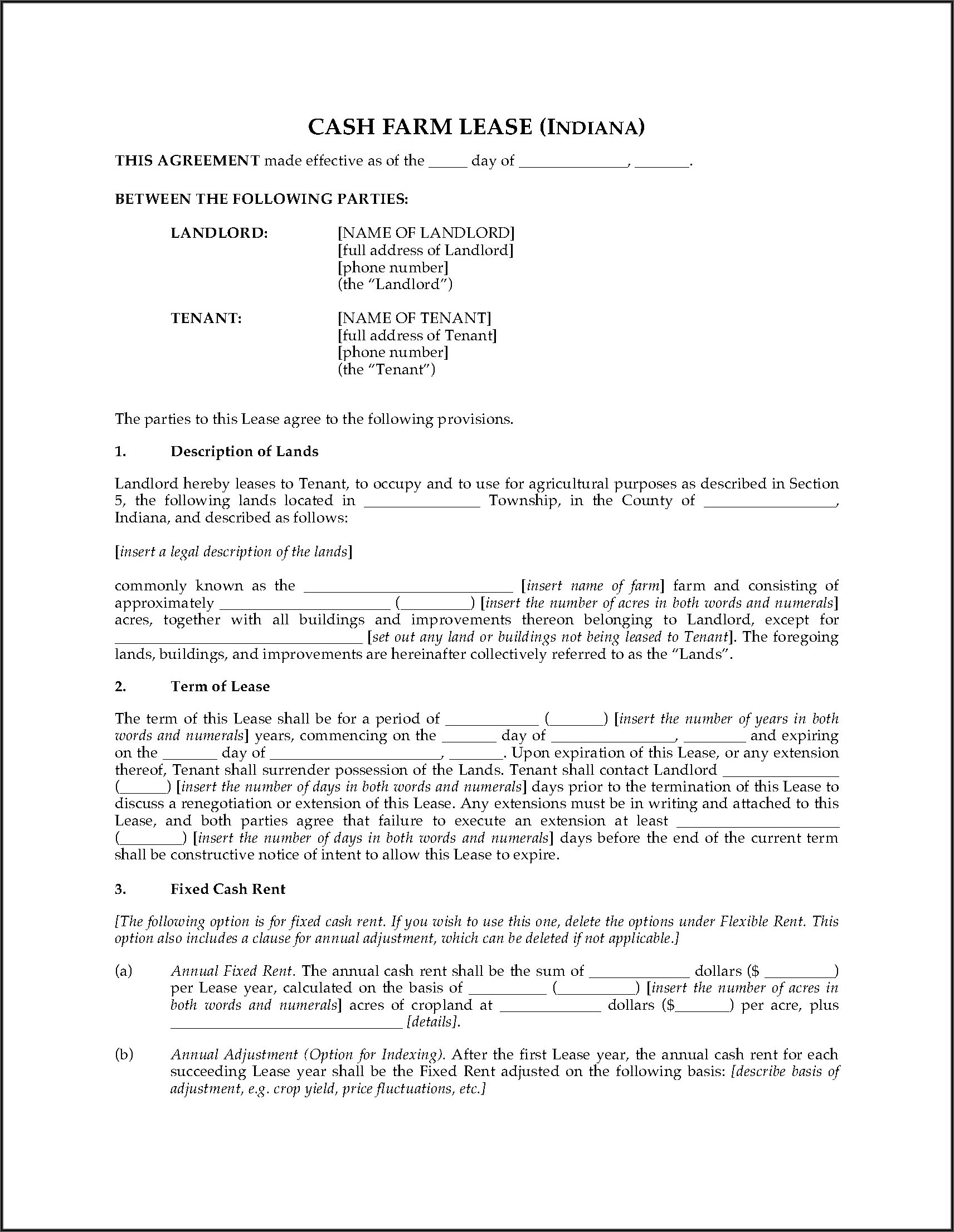 Cash Rent Farm Lease Forms