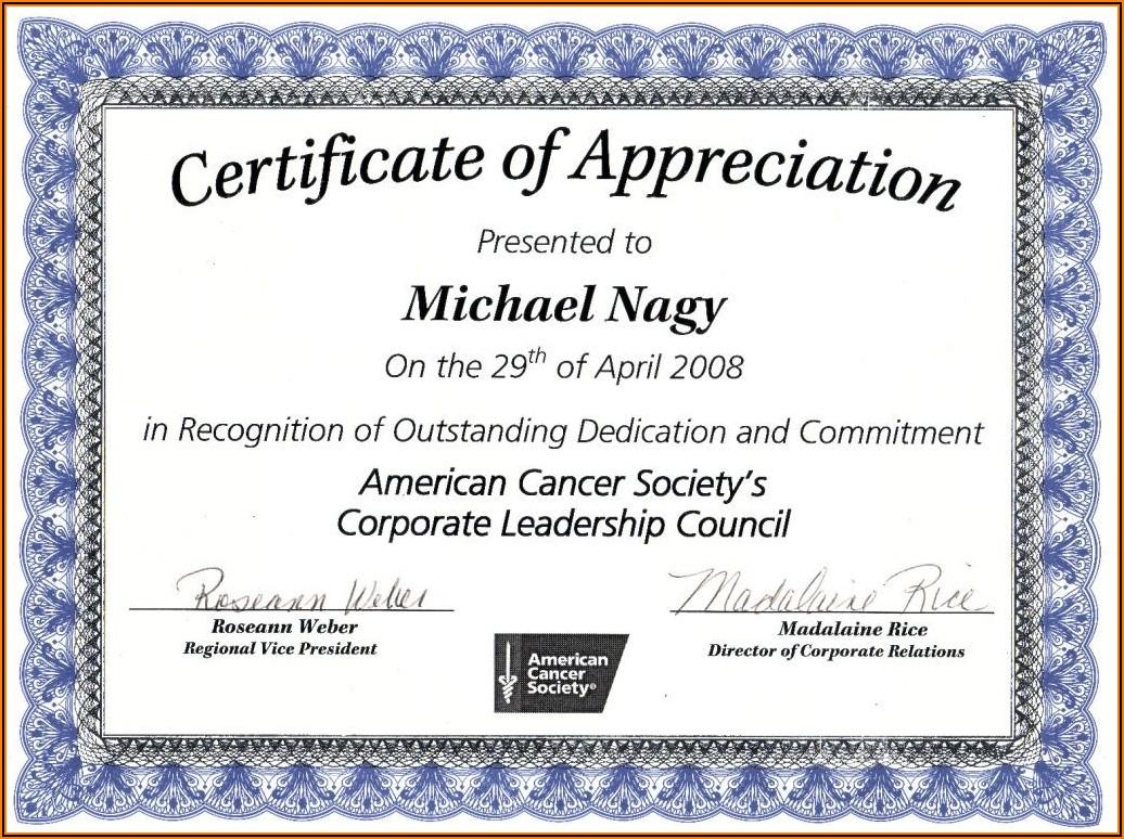Certificate Of Appreciation Blank Format
