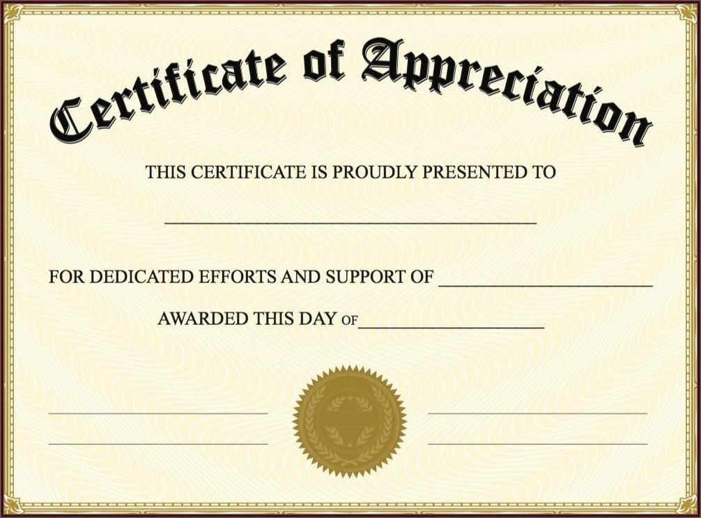 Christian Certificate Of Appreciation Sample