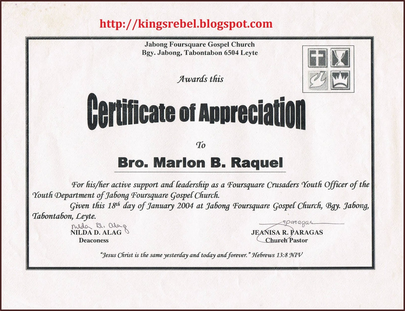 Christian Certificate Of Appreciation Template