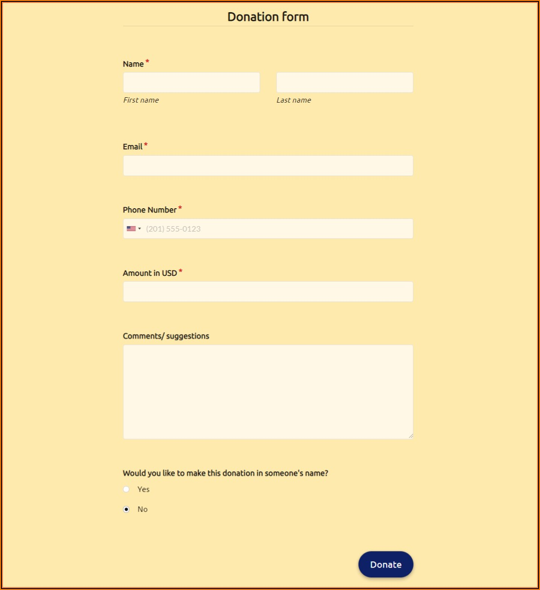 Church Building Donation Form Template
