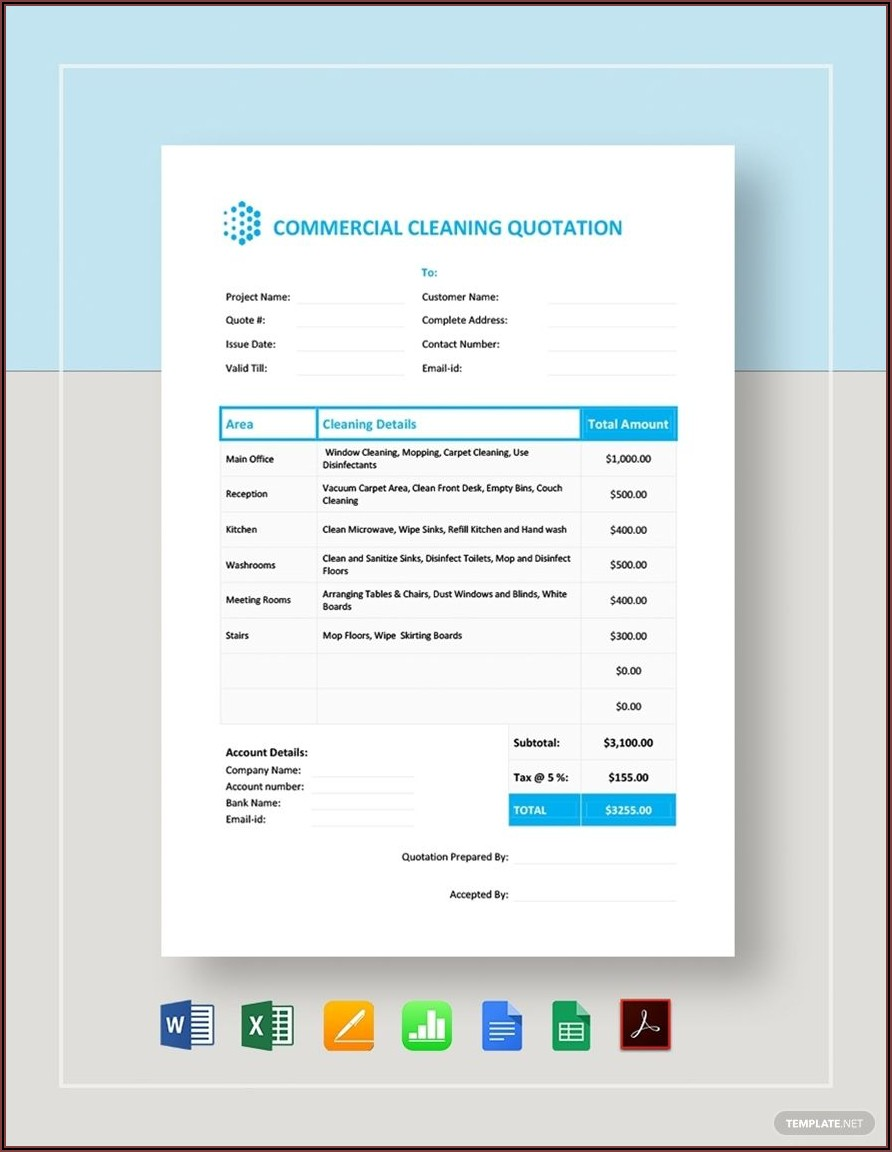 Cleaning Quotation Template Pdf