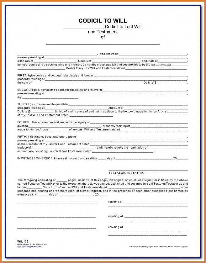 Codicils To Wills Forms In Canada