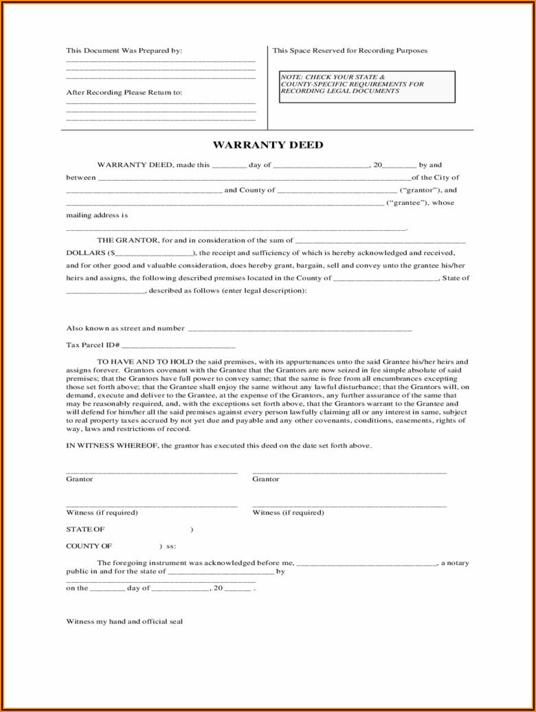 Colorado Statutory Form Special Warranty Deed