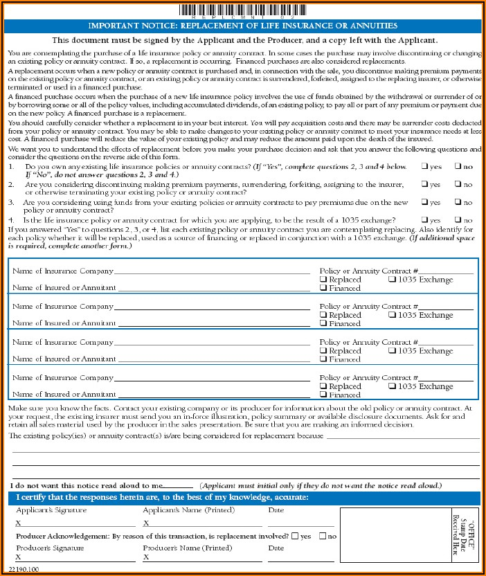 Combined Life Insurance Forms