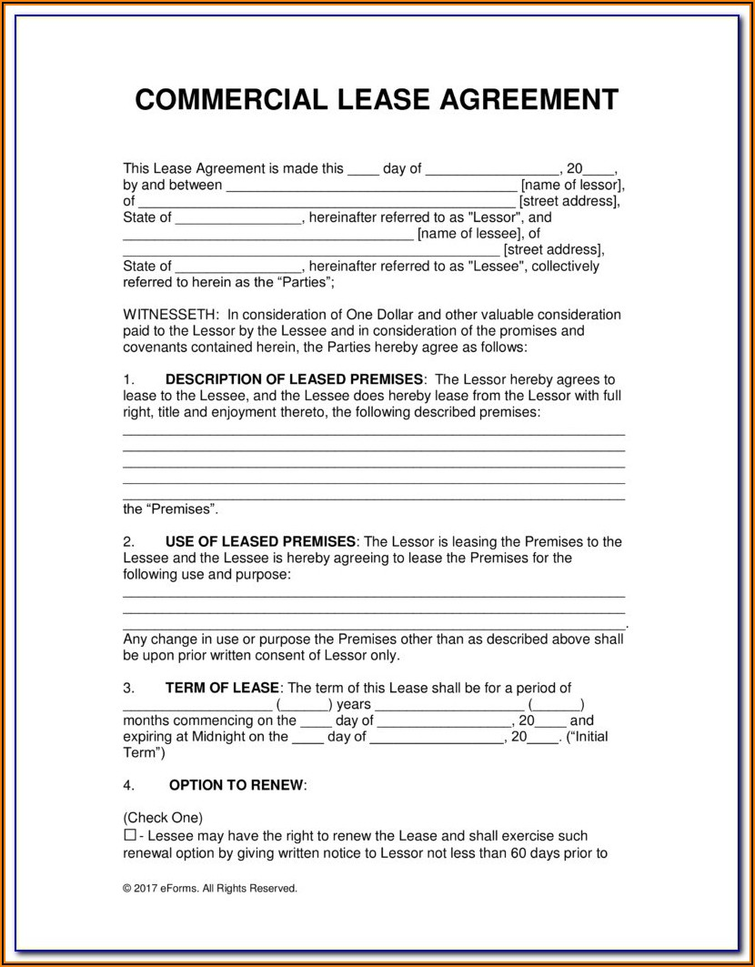 Commercial Lease Form Free