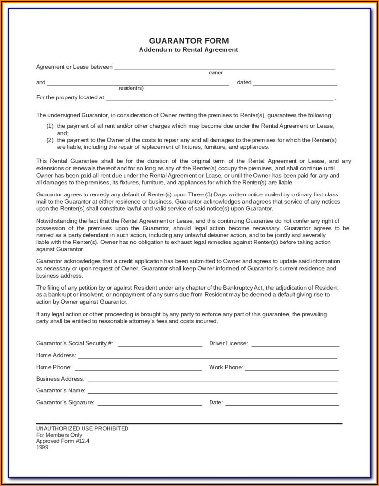 Commercial Lease Guarantor Form