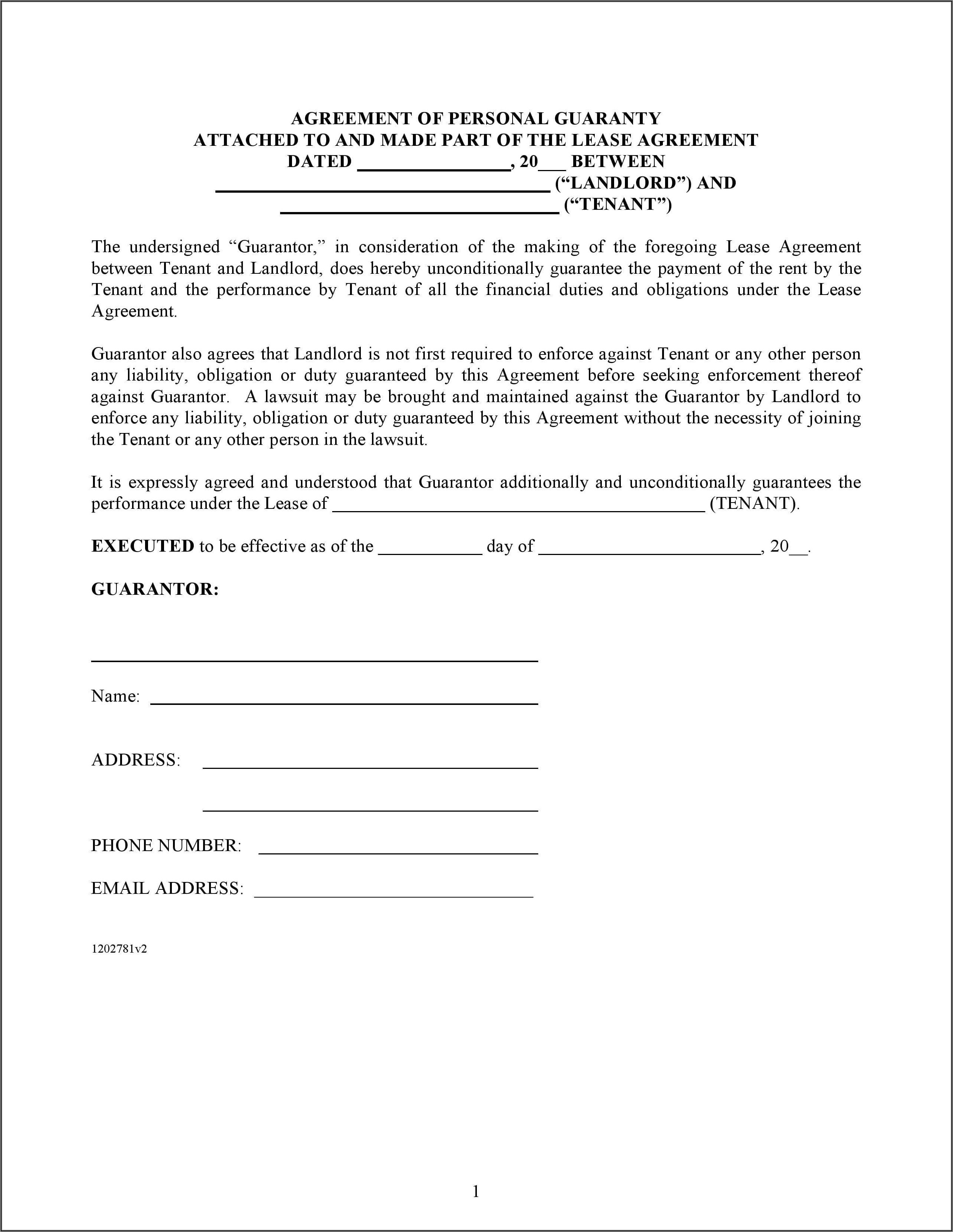 Commercial Lease Guaranty Form