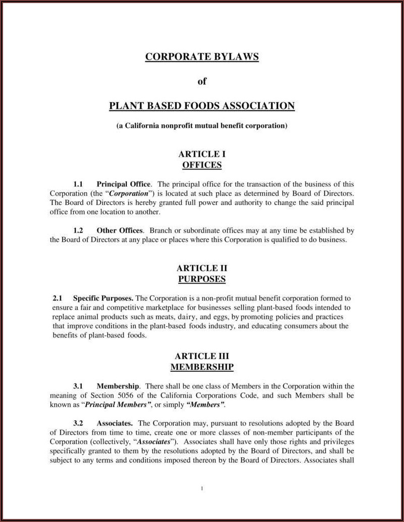 Company Bylaws Template