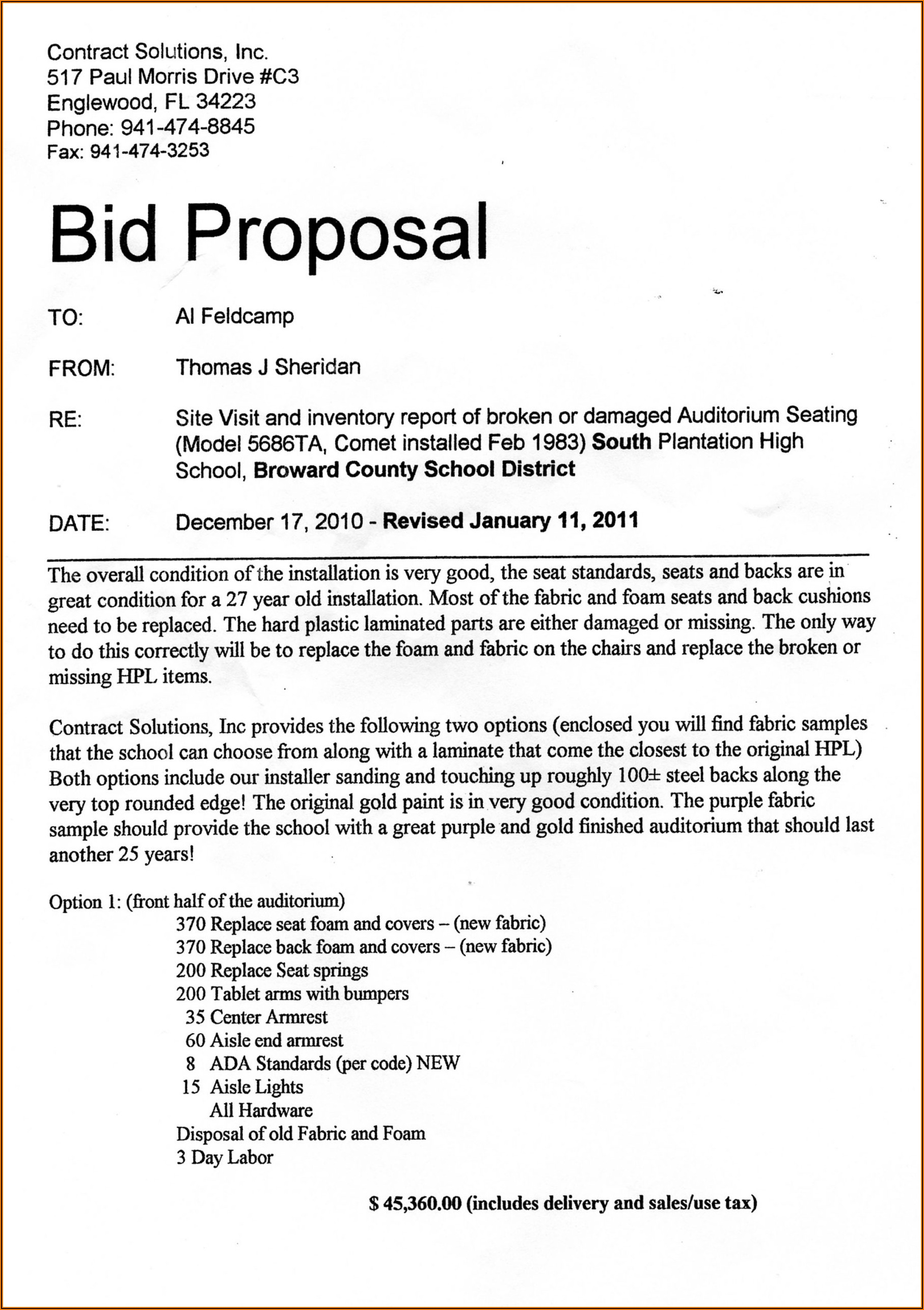 Construction Bid Proposal Template Word Free