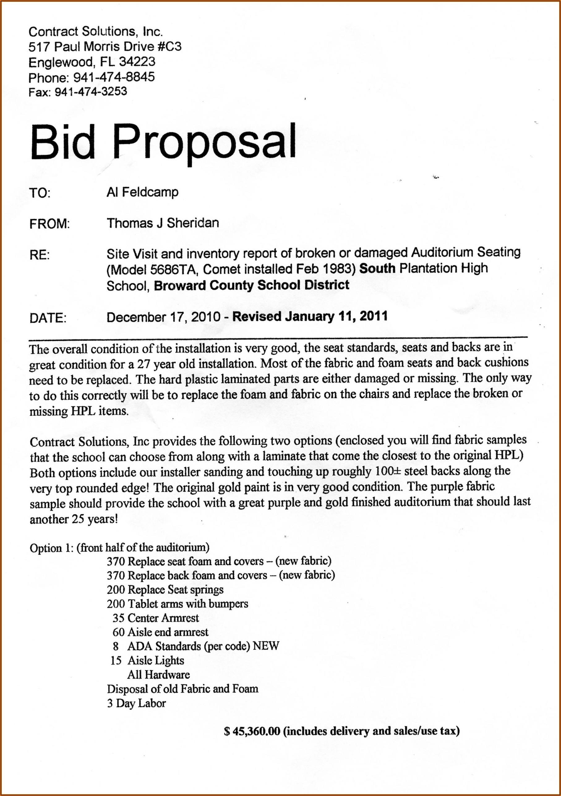 Construction Bid Proposal Template Word Free