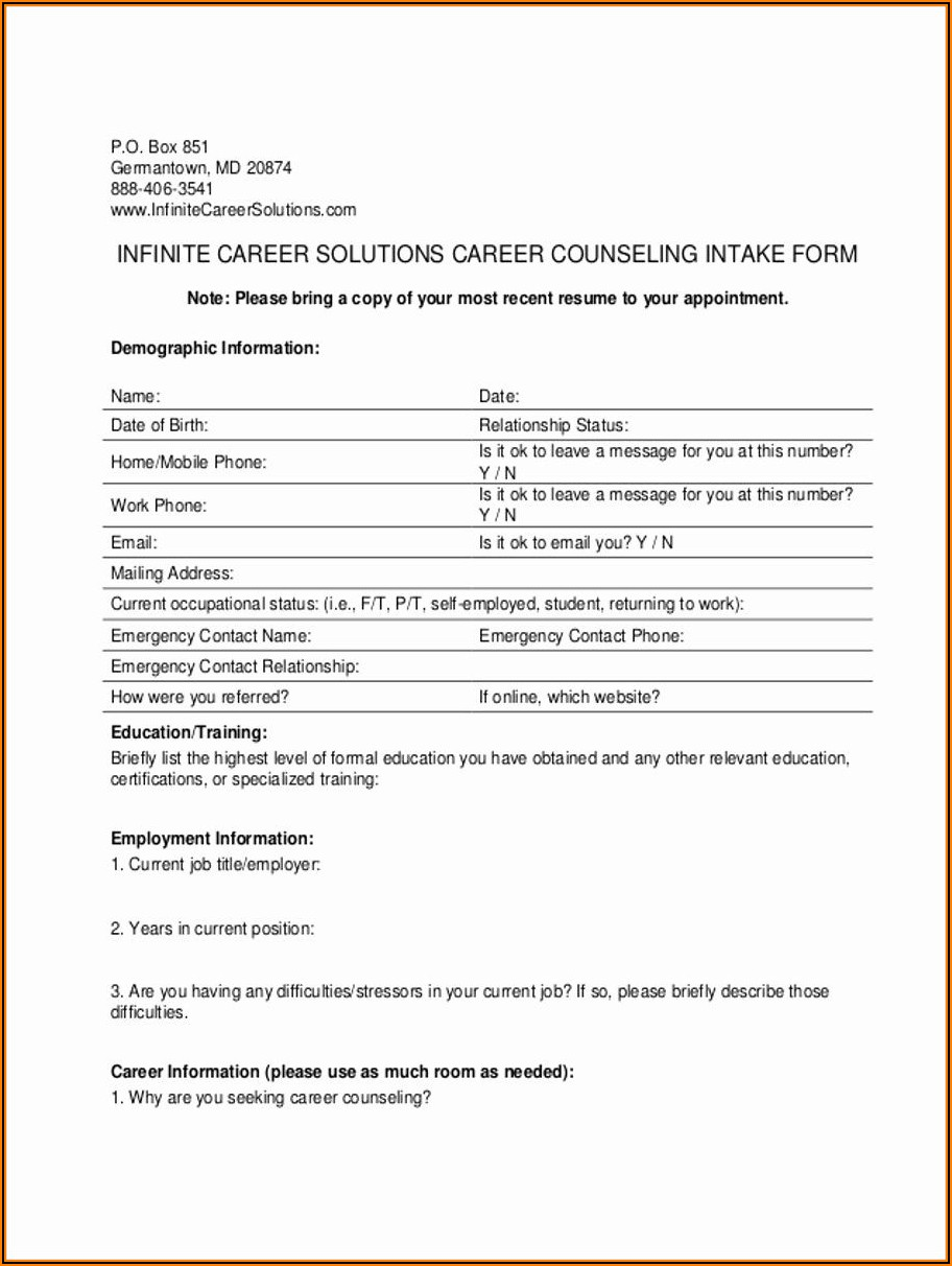Counselling Forms Templates