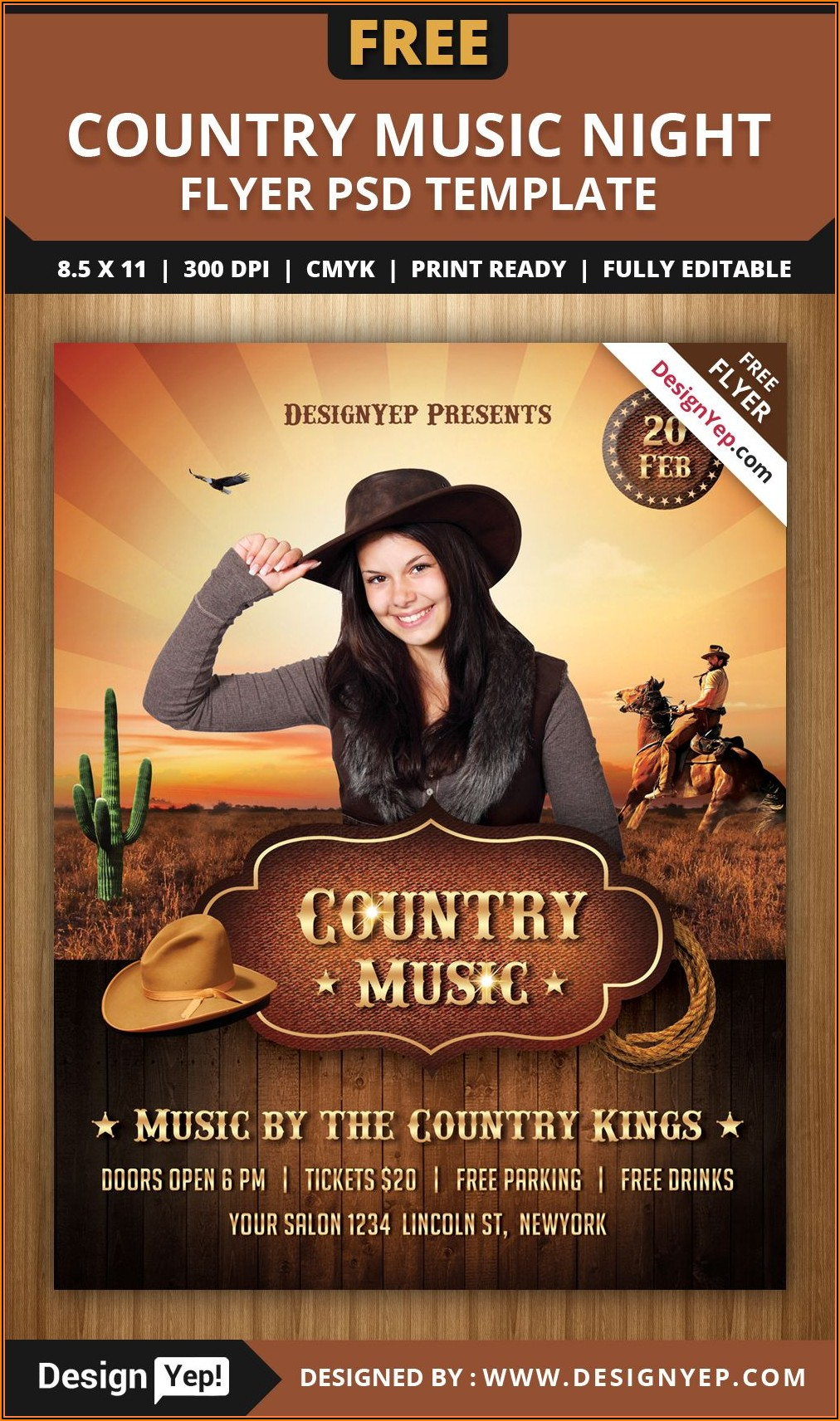 Country Night Western Flyer Template Free