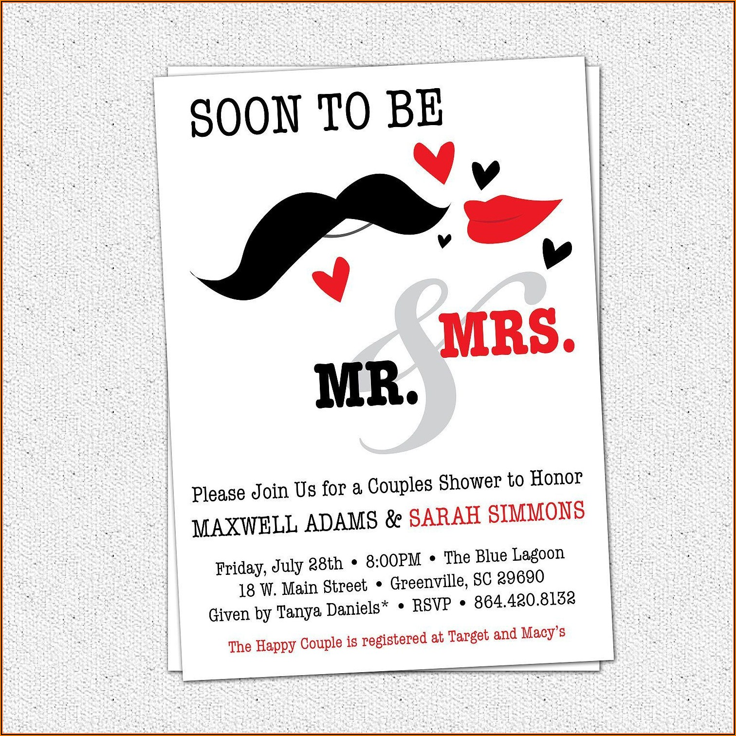 Couples Wedding Shower Invitations Templates Free