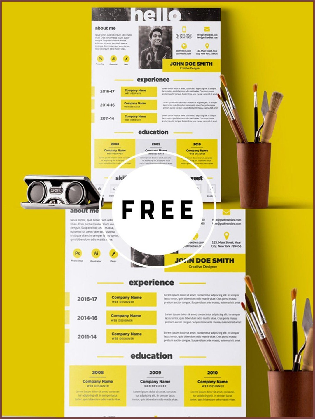 Creative And Elegant Resume Template Free Psd