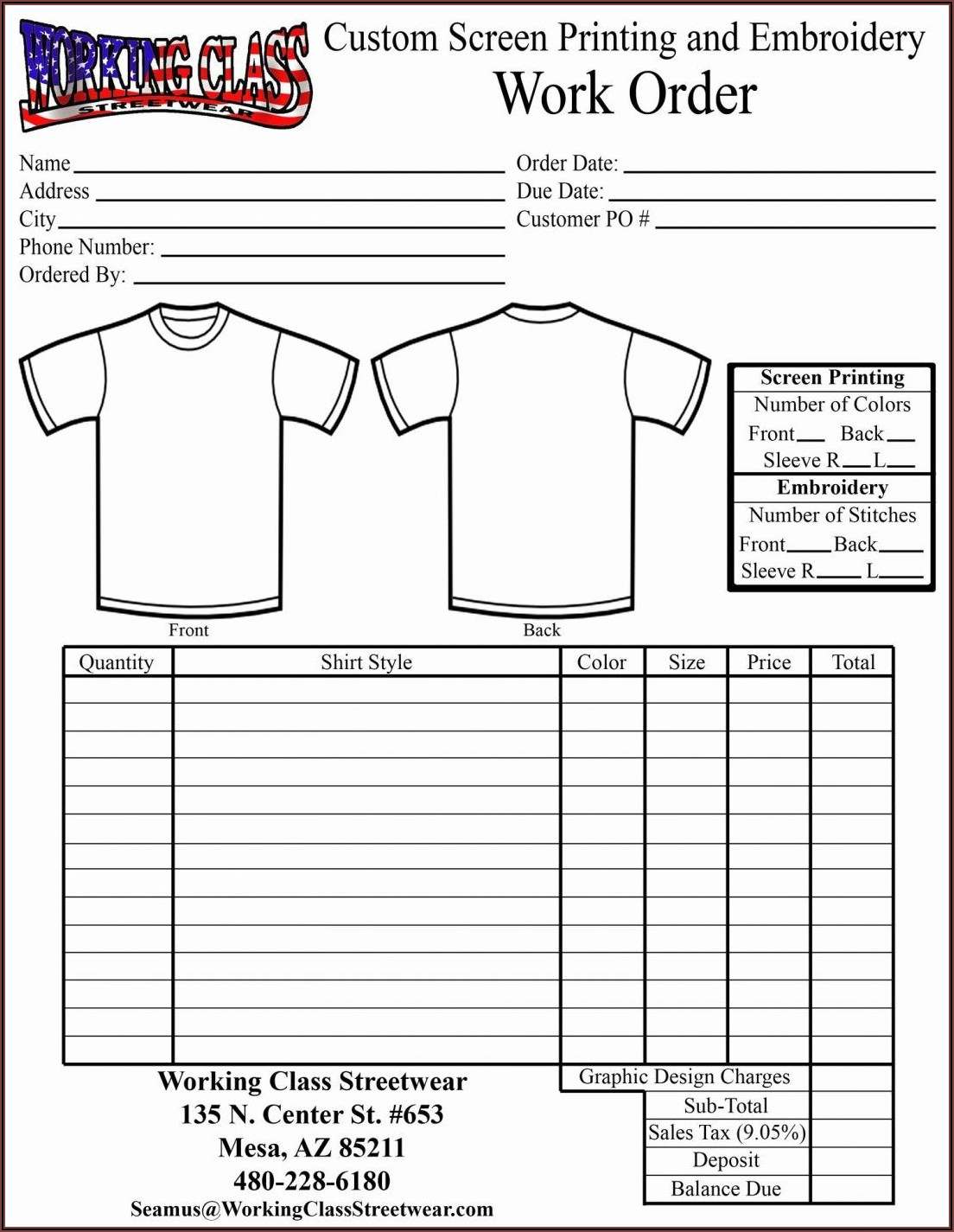 Custom Shirt Order Form Template