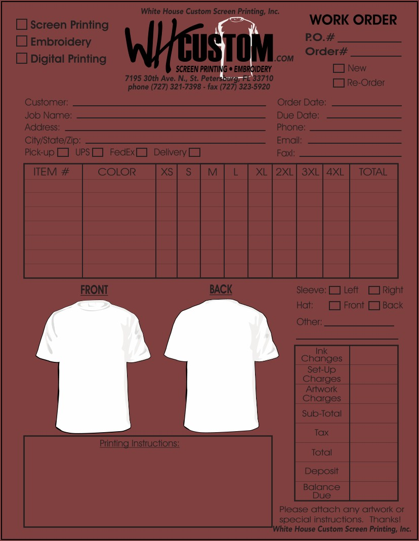 Custom T Shirt Order Form Template Free