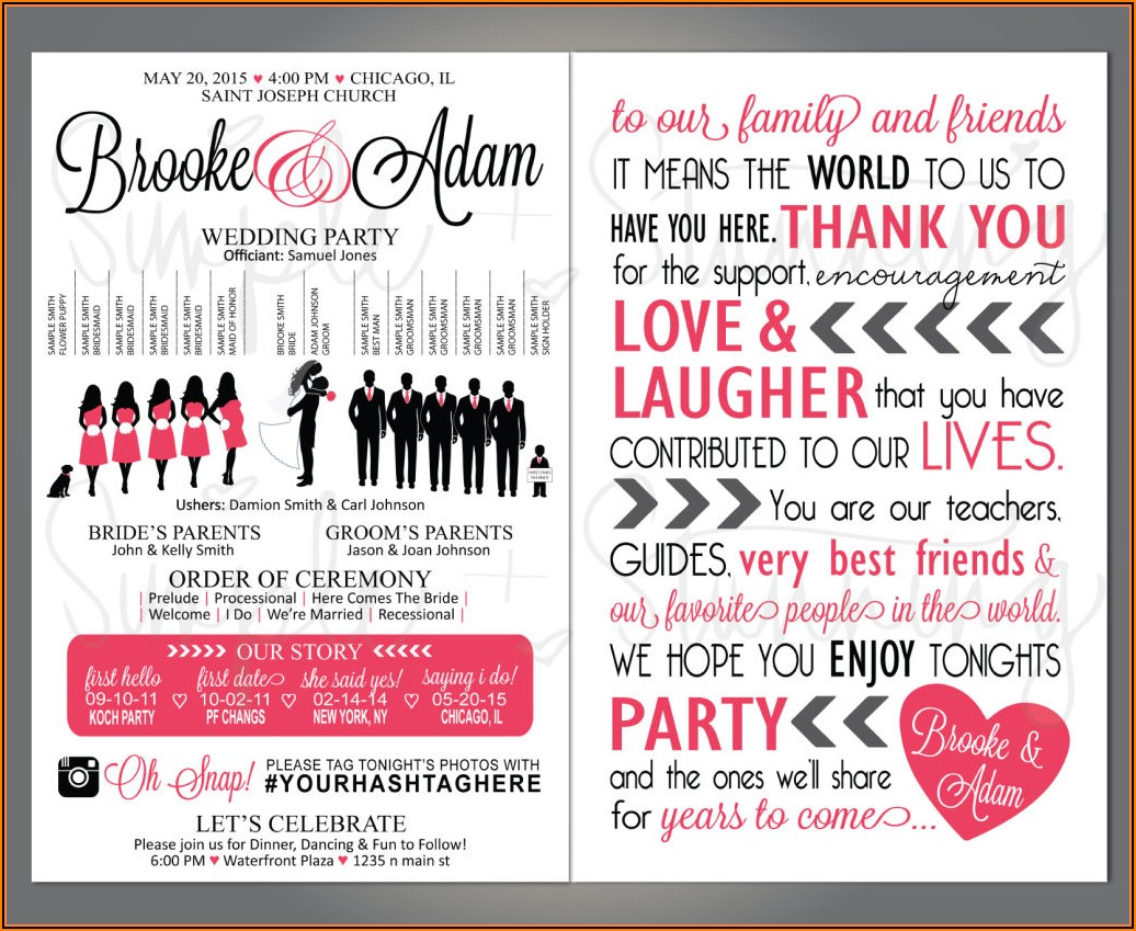 Downloadable Wedding Program Template That Can Be Printed