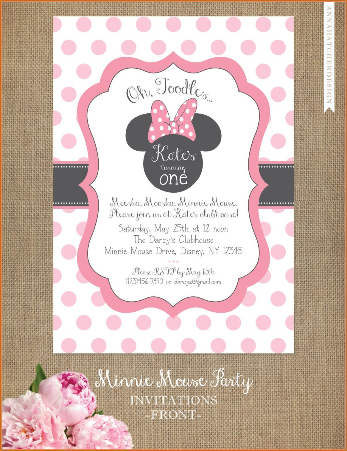 Editable Minnie Mouse Birthday Invitation Template