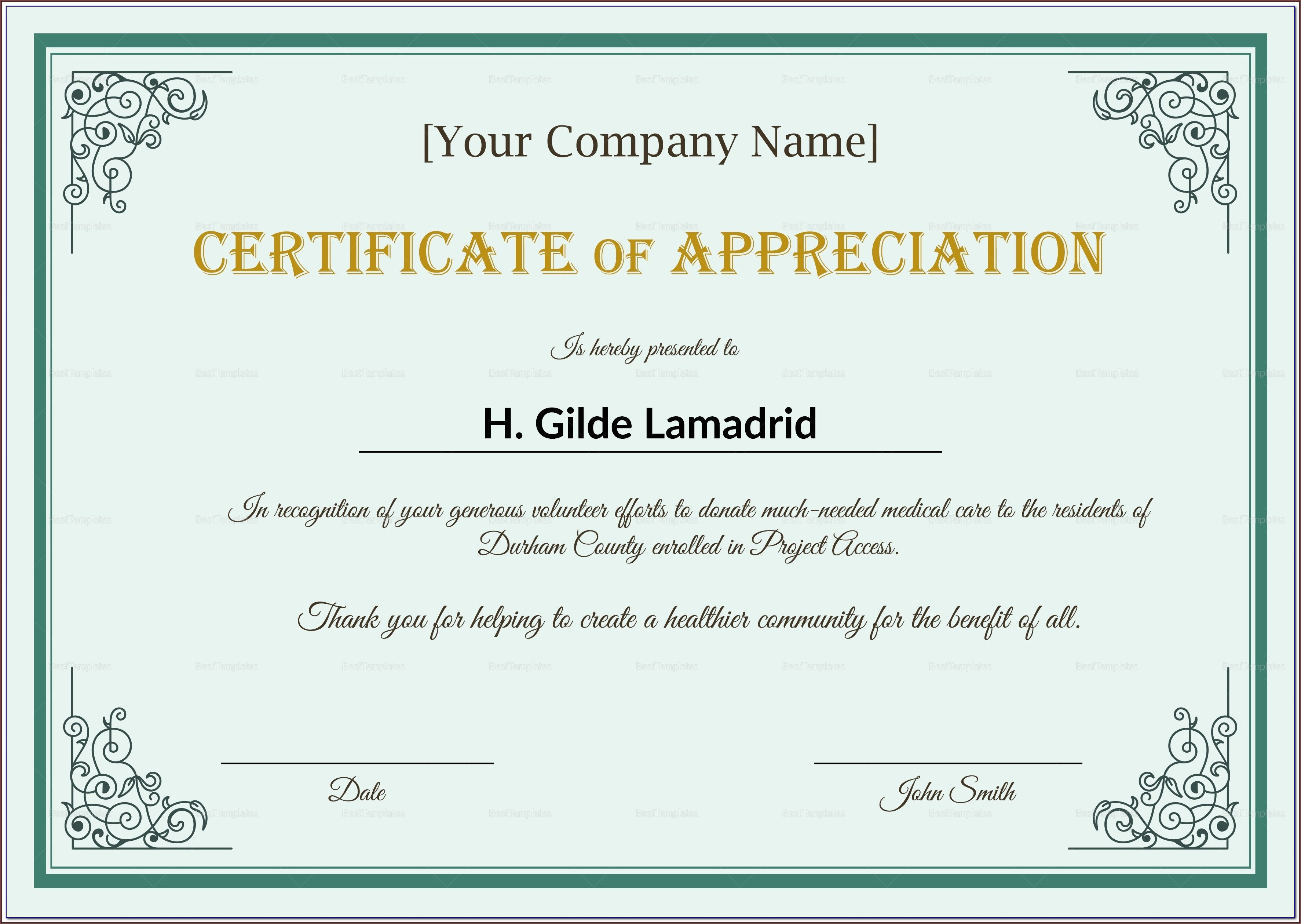 Employee Appreciation Award Template