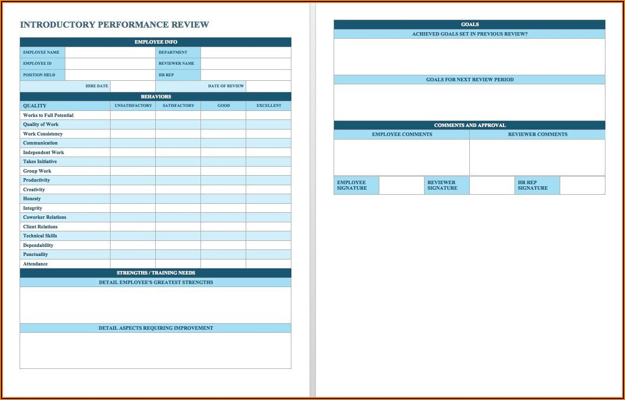 Employee Evaluation Templates Free