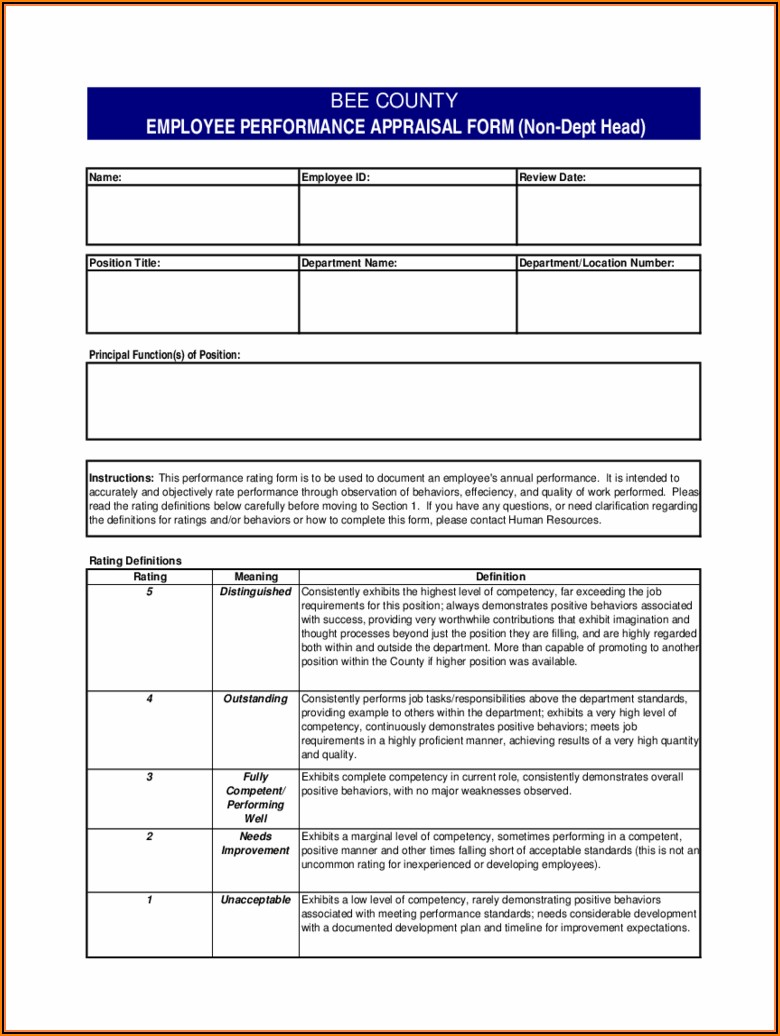 Employee Evaluation Templates Word
